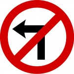 No left turn - Irish road sign