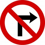 No right turn - Irish road sign