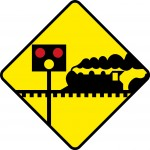 Level crossing with lights and barrier